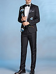 cheap -Men's Suits, Floral Notch Lapel Polyester Black
