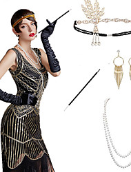 cheap -The Great Gatsby Charleston 1920s The Great Gatsby Roaring 20s Costume Accessory Sets Gloves Flapper Headband Women's Tassel Costume Head Jewelry Earrings Pearl Necklace Black / Golden / Black+Sliver
