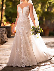 cheap -Mermaid / Trumpet Spaghetti Strap Court Train Lace Sleeveless Country Plus Size Wedding Dresses with Lace / Appliques 2020
