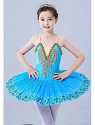 cheap -Kids' Dancewear Gymnastics Ballet Leotard / Onesie Pleats Pearls Embroidery Girls' Performance Theme Party Sleeveless Tulle Polyester