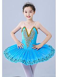 cheap -Kids' Dancewear / Gymnastics / Ballet Leotards / Tutus & Skirts Girls' Performance / Theme Party Polyester / Tulle Pleats / Pearls / Embroidery Sleeveless Leotard / Onesie