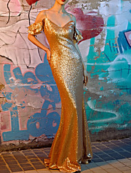 cheap -Sheath / Column Sparkle Gold Prom Formal Evening Dress V Neck Sleeveless Floor Length Polyester with Sequin 2020