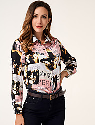 cheap -New women's fashion newspaper printing sweet trend ins Long Sleeve Shirt