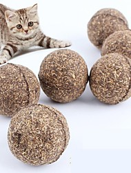 cheap -4pcs Pet Cat Natural Catnip Treat Ball Funny Playing Catch Teaser Chewing Chat Jouet