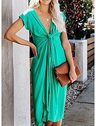 cheap -Women's Asymmetrical Green Royal Blue Dress A Line Solid Color Deep V S M