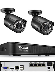 cheap -ZOSI H.265 Compression 4CH 5MP PoE NVR Outdoor Home Security Surveillance CCTV System Kit with 120ft Night Vision P2P 5MP IP Bullet Camera Waterproof IP67