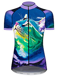 cheap -21Grams Women's Short Sleeve Cycling Jersey Spandex Polyester Blue+Green Cat Animal Bike Jersey Top Mountain Bike MTB Road Bike Cycling UV Resistant Breathable Quick Dry Sports Clothing Apparel