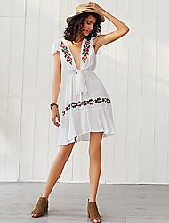 cheap -Women's White Black Dress A Line Floral Deep V S M