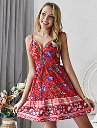 cheap -Women's Red Green Dress Boho Cute Going out Beach A Line Floral Strap Deep V S M