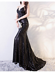 cheap -Mermaid / Trumpet V Neck Sweep / Brush Train Polyester Sexy / Black Formal Evening / Party Wear Dress with Sequin 2020