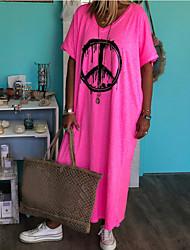 cheap -Women's Maxi Blushing Pink Dress Boho Spring & Summer Holiday Vacation Beach Loose Plain M L Loose
