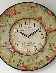 Недорогие -В стиле кантри настенные часы безрамные мдф часы стикер стены