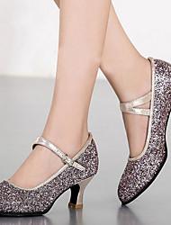 cheap -Women's Modern Shoes PU Heel Sequin Cuban Heel Dance Shoes Black / Silver