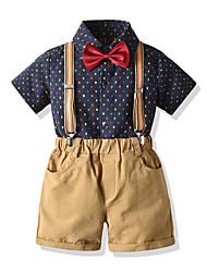 cheap -Kids Boys' Basic Birthday Party Party & Evening Polka Dot Short Sleeve Regular Regular Clothing Set Black