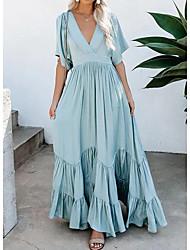cheap -Women's Swing Dress - Solid Color Blue S M L XL