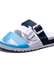 cheap -Men's Faux Leather Spring & Summer Casual Slippers & Flip-Flops Breathable Black / Red / Orange / Blue