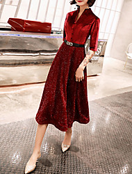 cheap -A-Line Glittering Red Cocktail Party Prom Dress High Neck Half Sleeve Tea Length Lace Velvet with Sash / Ribbon Buttons 2020