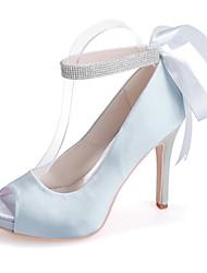 cheap -Women's Wedding Shoes Stiletto Heel Peep Toe Sparkling Glitter / Ribbon Tie Satin Minimalism Spring & Summer White / Purple / Red / Party & Evening