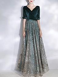 cheap -A-Line V Neck Floor Length Tulle / Velvet Sparkle / Black Prom / Formal Evening Dress with Sequin / Appliques 2020