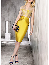 cheap -Sheath / Column Peplum Gold Wedding Guest Cocktail Party Dress Scalloped Neckline Sleeveless Knee Length Satin with Ruffles Lace Insert 2020