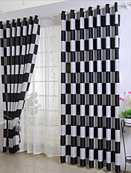 cheap -Two Panel Modern Minimalist Style Square Lattice Jacquard Blackout Curtains Living Room Bedroom Dining Room Curtains