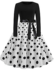 cheap -Women's Black Dress Active Cute Party Daily Swing Polka Dot Patchwork Print S M / Cotton