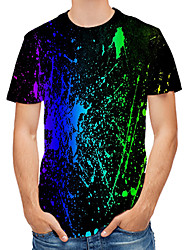 cheap -Men's T-shirt Abstract Graphic Print Tops Round Neck Black