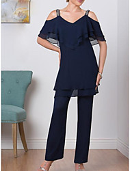 cheap -Pantsuit / Jumpsuit V Neck Floor Length Chiffon Short Sleeve Sexy Mother of the Bride Dress with Tier 2020