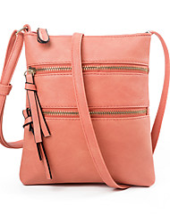 cheap -Women's Bags PU Leather Crossbody Bag Zipper Striped Daily Outdoor Leather Bag MessengerBag Watermelon Red Black Blue Blushing Pink