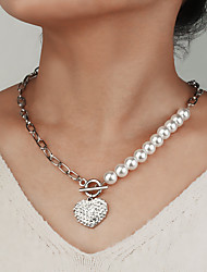 cheap -Women's Pendant Necklace Necklace Classic Heart Classic Trendy Sweet Fashion Imitation Pearl Chrome Imitation Diamond Silver 55 cm Necklace Jewelry 1pc For Wedding Street Birthday Party Beach Festival