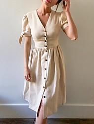 cheap -Women's Beige Dress A Line Solid Color V Neck S M
