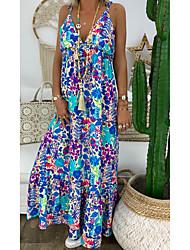 cheap -Women's Maxi Shift Dress - Sleeveless Geometric Strap Loose Blue Red Light Blue S M L XL XXL XXXL XXXXL XXXXXL