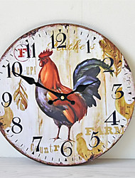 cheap -1pcs Frameless Wall Clock Rooster Pattern Home Decoration Wall Clock