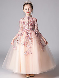 cheap -Princess Floor Length Pageant Dresses - Tulle 3/4 Length Sleeve High Neck with Appliques / Solid
