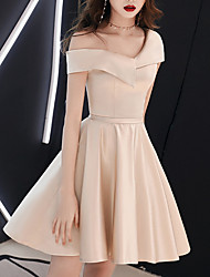 cheap -A-Line One Shoulder Above Knee Polyester Bridesmaid Dress with Tier