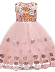 cheap -Kids Girls' Active Sweet Solid Colored Sequins Beaded Sleeveless Knee-length Dress Blushing Pink