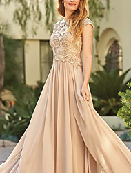 cheap -Sheath / Column Jewel Neck Sweep / Brush Train Chiffon / Lace Short Sleeve Elegant Mother of the Bride Dress with Appliques / Ruching 2020