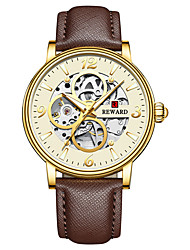 cheap -Men's Mechanical Watch Automatic self-winding Genuine Leather 30 m Water Resistant / Waterproof Noctilucent Day Date Analog Casual Fashion - Golden / Brown Black+Gloden Brown One Year Battery Life