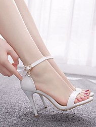 cheap -Women's Wedding Shoes Stiletto Heel Peep Toe Buckle Crocodile Sweet / Minimalism Fall / Spring & Summer White
