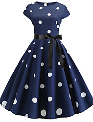 cheap -Women's Royal Blue Dress Active Cute Party Daily Swing Polka Dot Patchwork Print S M / Cotton