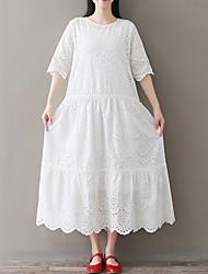 Недорогие -Жен. Свободный силуэт Платье - Рукав до локтя Сплошной цвет Свободный силуэт Белый M L XL XXL