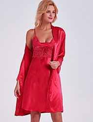cheap -Women's Lace Suits Nightwear Solid Colored Red M L XL