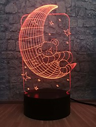 cheap -3D Romantic Baby Moon Bear Light LED RGB Blur 7 Color Change Table Sleep Night Ambient Light Bedroom Decoration Children Gift Toy