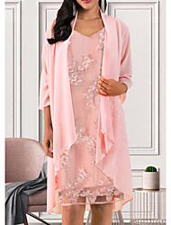 cheap -Women's Elegant A Line Dress - Solid Colored V Neck Blushing Pink M L XL XXL