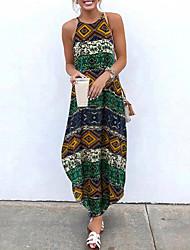cheap -Women's Maxi Loose Dress - Sleeveless Floral Print Asymetric Hem Summer Strap Holiday Vacation Loose Wine Yellow Green M L XL XXL XXXL