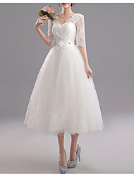 cheap -A-Line V Neck Knee Length Tulle Bridesmaid Dress with Appliques
