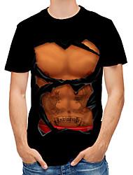 cheap -Men's Party Club Sexy / Military T-shirt - Color Block / 3D / Simulation Print Black