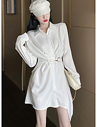 cheap -Women's Asymmetrical White Black Dress Shirt Solid Color Shirt Collar One-Size Loose
