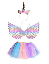 cheap -Unicorn Skirt Outfits Headwear Girls' Movie Cosplay Cosplay Halloween Purple Skirts Wings Headwear Halloween Carnival Masquerade Polyester