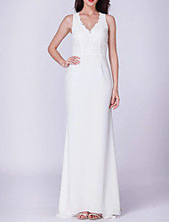 cheap -Sheath / Column Jewel Neck Sweep / Brush Train Polyester Minimalist / White Engagement / Formal Evening Dress with Draping 2020